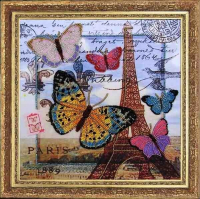 Набор для вышивания BUTTERFLY арт. 107 Привет из Парижа 26х26 см