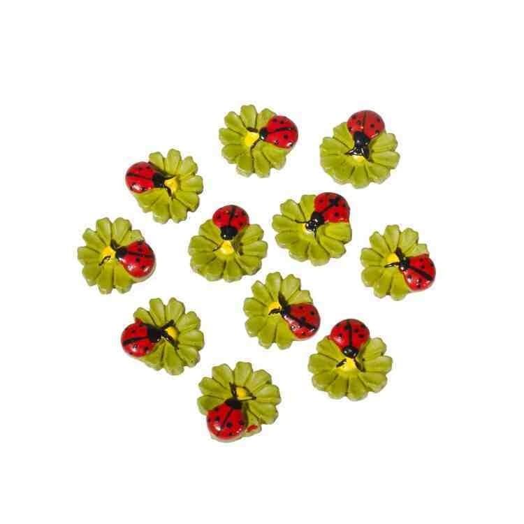 Божья коровка на листе клеевая, 15 мм. цв. зеленый с красным - 10 шт.