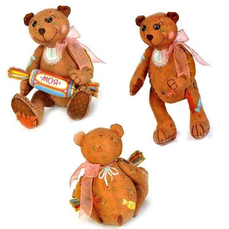 Набор для изготовления текстильной игрушки в чердачном стиле арт.ПЧ-503 'Мишка - Сладкоежка' 26х18,5 см