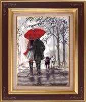 Рисунок на ткани бисером БЛАГОВЕСТ арт.К-3041 Вечерняя прогулка 28,8х39 см