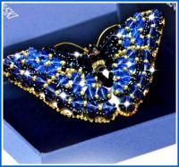 Набор для вышивания хрустальными бусинами ОБРАЗА В КАМЕНЬЯХ арт. 77-Б-12(Svarovski) Брошь Бабочка Сапфир 7,5х3,5см