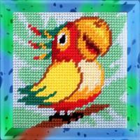 Набор для вышивания с пряжей BAMBINI арт.X2024 Попугай 15х15 см