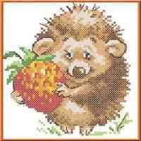 Набор для вышивки с нанесенным рисунком КАРОЛИНКА арт. КТКН-004(р) Ёжик с клубничкой 11х12 см
