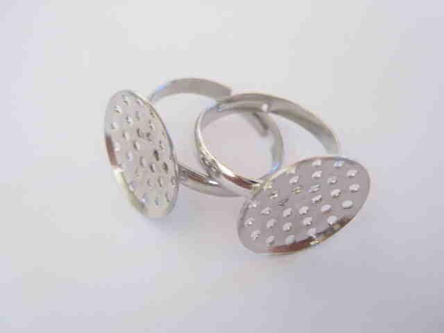 Заготовка для кольца, никель, регулируемый размер - 10 шт