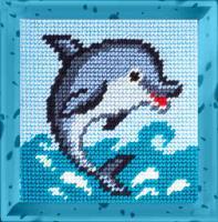 Набор для вышивания с пряжей BAMBINI арт.X2038 Дельфин 15х15 см