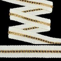 Тесьма TBY с цепочкой арт.SL.TCGW шир.20мм цв.белый/золото уп.22,85м
