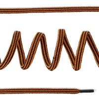 Шнурки круглые вязальные 4мм без наполнителя дл.100 см цв. черно-горчичный, продольная полоска (25 компл)