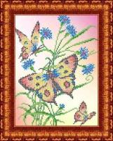 Рисунок на ткани КАРОЛИНКА арт. КББ-4005 Бабочки и васильки 18,5х24,5 см