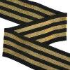 Резинка TBY в рубчик с тремя полосками арт.RDG.350322G шир.50мм цв.черный/золото рул.25м