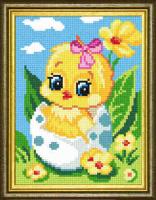 Рисунок на канве (страмин) с нанесенным рисунком ЧАРIВНИЦЯ арт. D26 Цыпленок-девочка 15х20 см