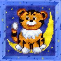 Набор для вышивания с пряжей BAMBINI арт.X2007 Тигренок на месяце 15х15 см