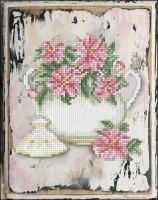 Набор для вышивания мулине КРАСА И ТВОРЧЕСТВО арт.80217 Цветы 12 18,7х14,6 см