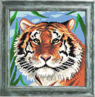 Рисунок на канве (страмин) с нанесенным рисунком ЧАРIВНИЦЯ арт. E44 Тигр 25х25 см