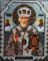 Принт для вышивания хрустальными бусинами ОБРАЗА В КАМЕНЬЯХ арт. 7704 Николай Чудотворец 18,4х22,8 см