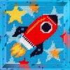 Набор для вышивания с пряжей BAMBINI арт.X2005 Ракета 15х15 см