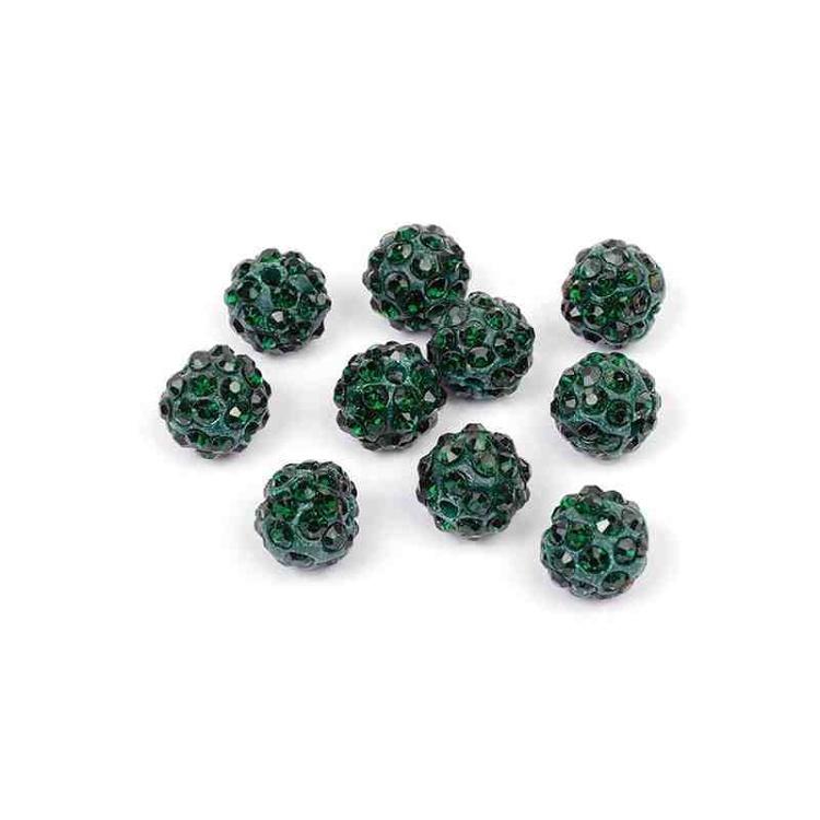 Бусины Шамбала TBY SHN.10 цв.16 т.зеленый d-10мм