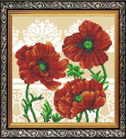 Рисунок на габардине СЛАВЯНОЧКА арт. ААМА-310 Маки Триптих3 28х38 см