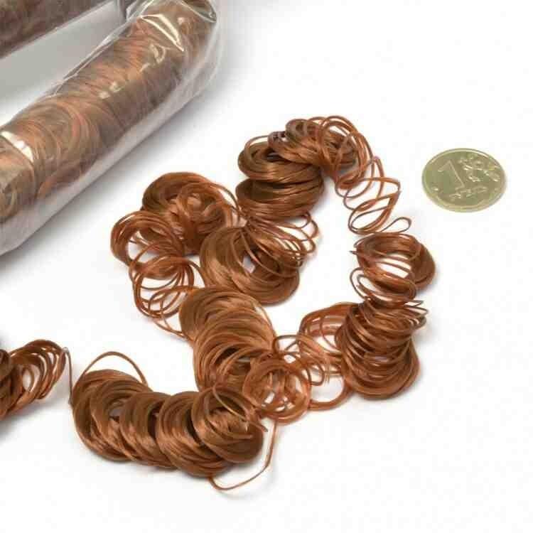 Волосы для кукол кудряшки длина 180см цв. каштановый