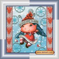 Набор для вышивания бисером АБРИС АРТ арт. AM-017 Рождественский Эльф 15х15 см