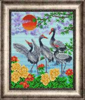 Рисунок на габардине бисером БЛАГОВЕСТ арт.К-3102 Журавли 3: Верность и долголетие 28х35 см
